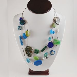 Chico's Blue Green Glass Bead 3 Strand Necklace